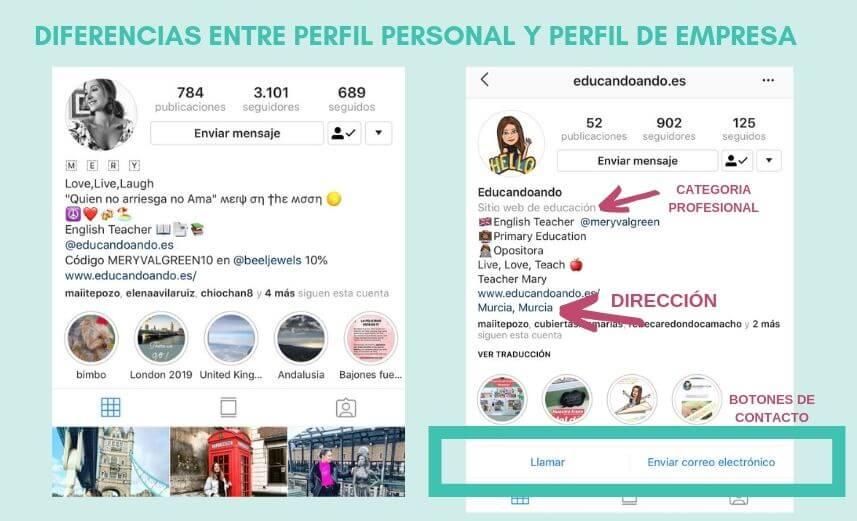 diferencias entre perfil de instagram y perfil de empresa