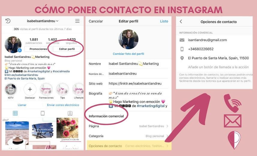 como poner contacto en Instagram