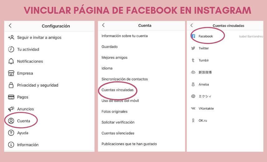 como vincular Instagram con Facebook