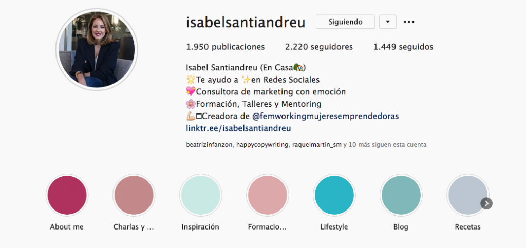 biografía de instagram